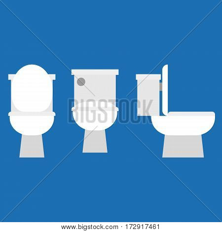 Flush toilet icon set, flat design vector
