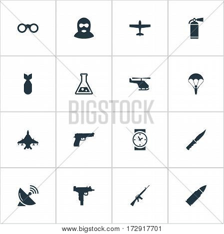 Set Of 16 Simple Terror Icons. Can Be Found Such Elements As Paratrooper, Ammunition, Terrorist And Other.