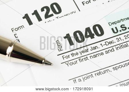 U.S. Tax form 1040 business financial concept.