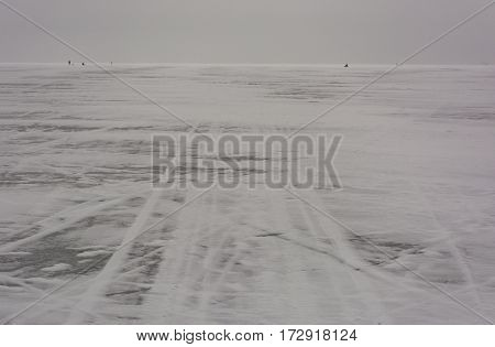Gulf of Finland the sea is covered with ice the marks of ski and snowmobile in the snow horizon winter cold people far away