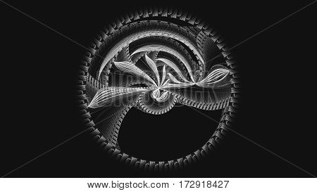 Full circle. Carousel. Kabbalistic sign. 3D surreal illustration. Sacred geometry. Mysterious psychedelic relaxation pattern. Fractal abstract texture. Digital artwork graphic astrology magic