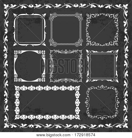 Decorative calligraphic frames in vintage style on a chalkboard background