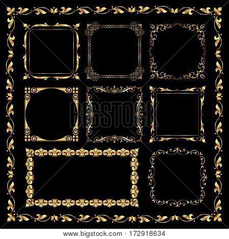 Golden decorative frames in vintage style - vector set