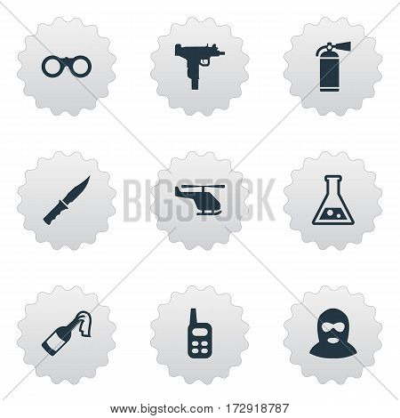 Set Of 9 Simple Battle Icons. Can Be Found Such Elements As Molotov, Chemistry, Walkies And Other.