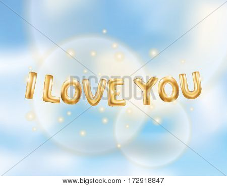 I love you gold letters balloons in the sky. Heart gold characters balloons in the air. Celebration party, date, invitation, event, card Valentine's Day. I love you. Shine metallic balloon background