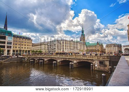 HAMBURG GERMANY - JUNE 10: Cityscape view of city center of Hamburg with embankment bridge and City Holl tower