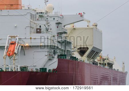 GAS CARRIER - A vessel viewed from the stern
