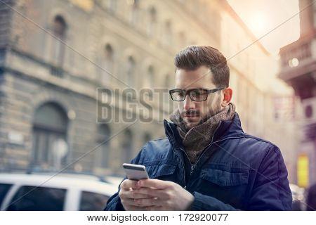 Man texting to someone