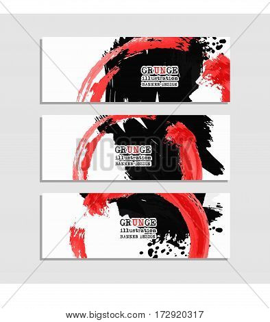 Black red abstract design. Ink paint on banner Two color element isolated on white. Grunge banner paints. Simple composition. Liquid ink. Background for banner card poster identityweb design.