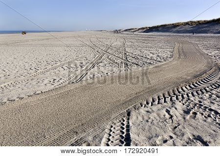 Leveling tracks on the beach of Hoek van Holland in the Netherlands