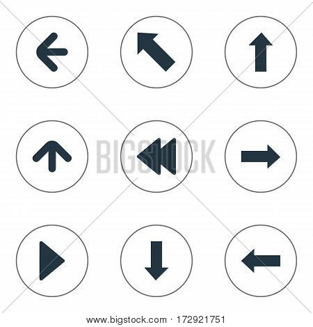 Set Of 9 Simple Cursor Icons. Can Be Found Such Elements As Downwards Pointing, Pointer, Upward Direction And Other.
