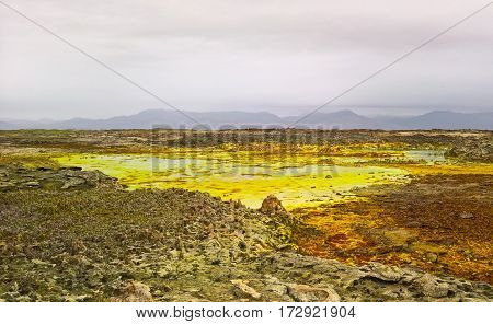 Panorama inside Dallol volcanic crater in Danakil depression Afar Ethiopia