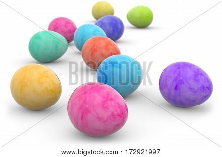 easter eggs painted in watercolor isolated on white