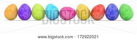 row of easter eggs painted in watercolor