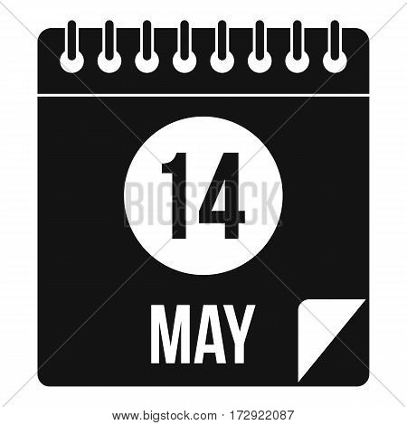 Spiral calendar page, 14th of May icon. Simple illustration of spiral calendar page, 14th of May vector icon for web