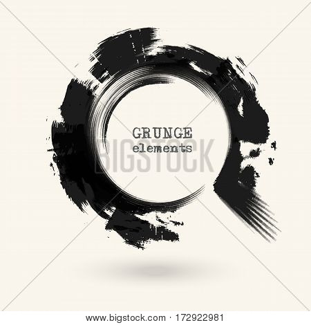 Black ink round stroke on white background. Vector illustration of grunge circle stains. Enso calligraphy element japanese or chinese style.