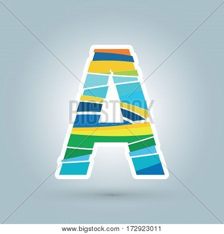 Vector abstract A geometric letter logo template. Overlapping transparent wave elements composition