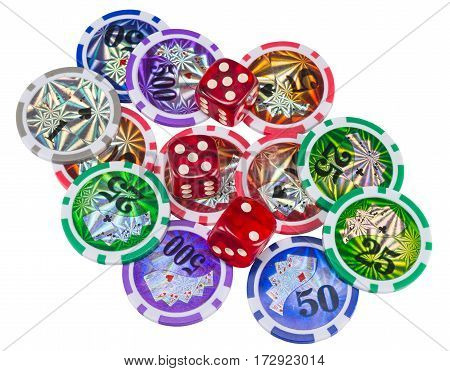 Red dices and chips on white background