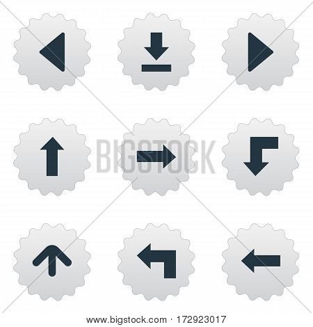 Set Of 9 Simple Cursor Icons. Can Be Found Such Elements As Left Landmark , Upward Direction , Pointer.