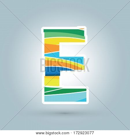 Vector abstract E geometric letter logo template. Overlapping transparent wave elements composition