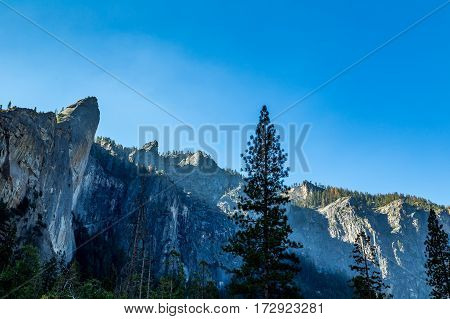 The Leaning Tower in Yosemite National Park is a popular destination for rock climbers. It is located west of and adjacent to Bridalveil Fall on the south side of the Merced River in Yosemite Valley. The rock is considered to be a strenuous climb