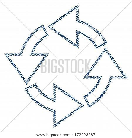 Rotation vector textured icon for overlay watermark stamps. Blue jeans fabric vectorized texture. Symbol with dust design. Blue ink rubber seal stamp with fiber textile structure.
