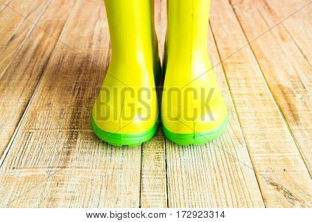 Gumboots on the wooden old background wall