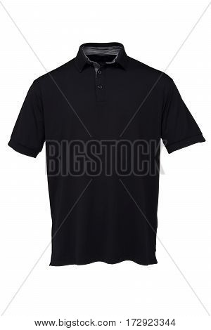 Black golf tee shirt with black and white collar for man on white background