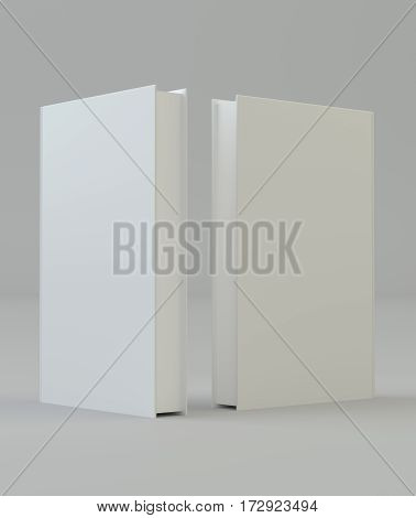 Blank mockcup book cover template standing. 3d rendering