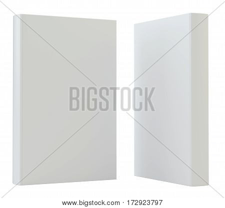 Blank mockcup book cover standing. 3d rendering isolated on white background