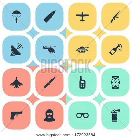 Set Of 16 Simple War Icons. Can Be Found Such Elements As Walkies, Kalashnikov, Helicopter And Other.