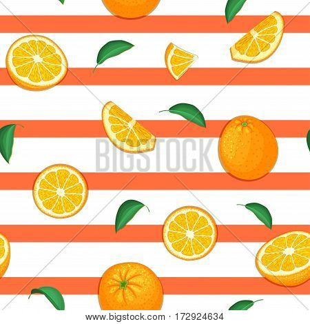 Seamless vector pattern of ripe orange fruit. Striped background with delicious juicy oranges slice half leaves. Vector fresh fruit Illustration for printing on fabric, textile, design packaging