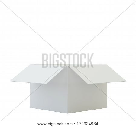 Opened cardboard box on white background. 3d rendering