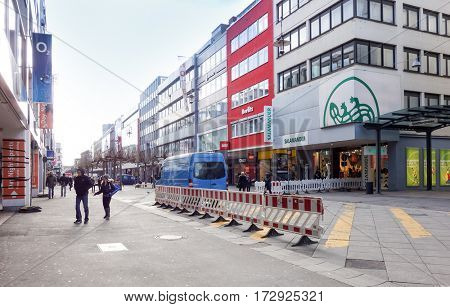 SAARBRUCKEN, GERMANY - January 17, 2017: street view of Saarbrucken, is the capital and largest city of the state of Saarland. January 17, 2017 in Saarbrucken, Germany