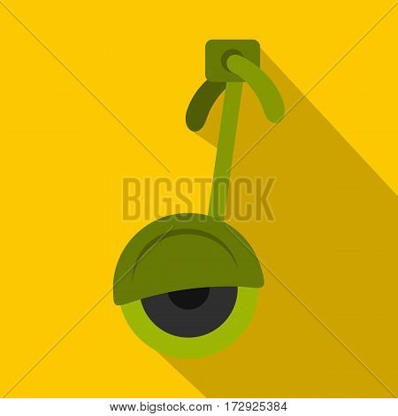 Green electrical self balancing scooter icon. Flat illustration of green electrical self balancing scooter vector icon for web isolated on yellow background