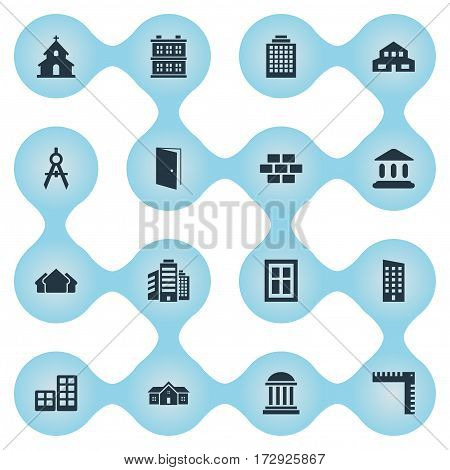 Set Of 16 Simple Structure Icons. Can Be Found Such Elements As Block, Floor, Glazing And Other.
