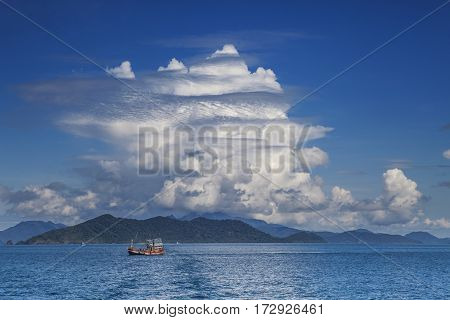 fishery boat and blue sky white cloud koh chang trad thailand
