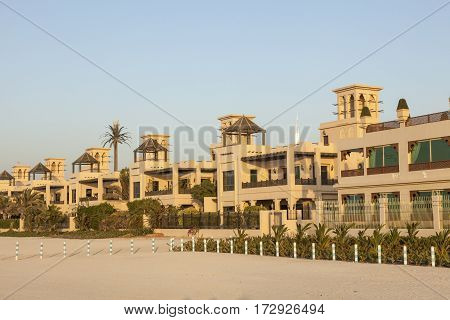 Luxury waterfront villas at the Persian Gulf beach in Dubai. United Arab Emirates Middle East