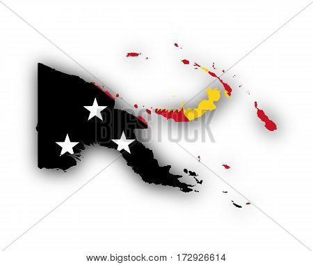 Map And Flag Of Papua New Guinea