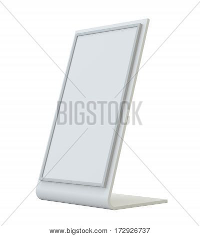 Blank holder. Clear brochure holding. Empty paper template. 3d rendering isolated on white background