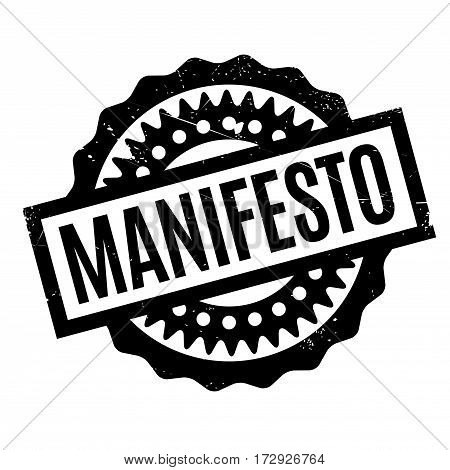 Manifesto rubber stamp. Grunge design with dust scratches. Effects can be easily removed for a clean, crisp look. Color is easily changed.