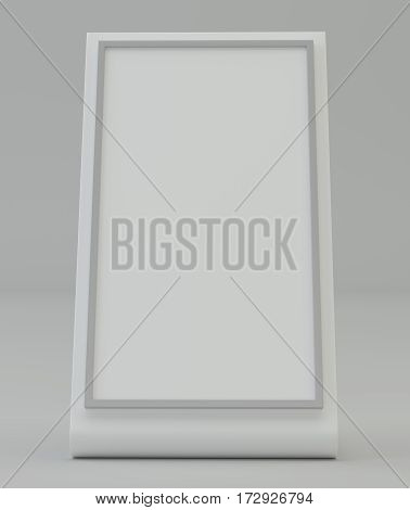 Blank plastic holder. Clear brochure holding. Empty paper template. 3d rendering
