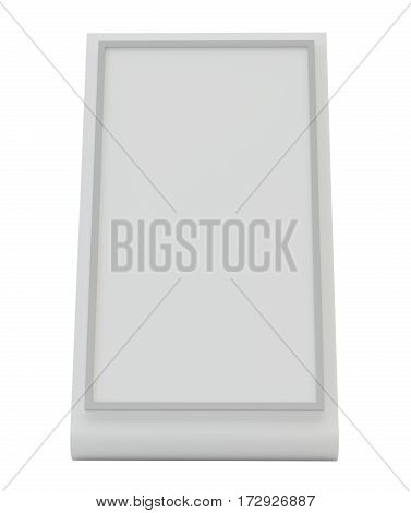 Blank plastic holder. Clear brochure holding. Empty paper template. 3d rendering isolated on white background