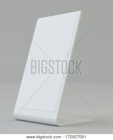 Plastic holder. Clear brochure holding. Empty paper template. 3d rendering