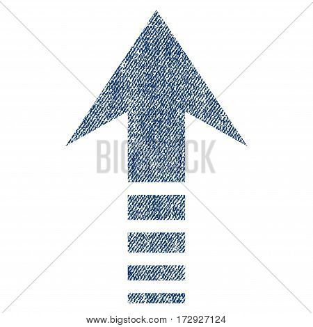 Send Up vector textured icon for overlay watermark stamps. Blue jeans fabric vectorized texture. Symbol with dirty design. Blue ink rubber seal stamp with fiber textile structure.