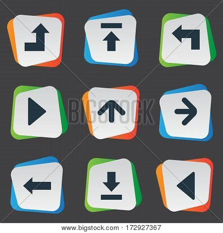 Set Of 9 Simple Indicator Icons. Can Be Found Such Elements As Left Landmark , Transfer, Let Down.