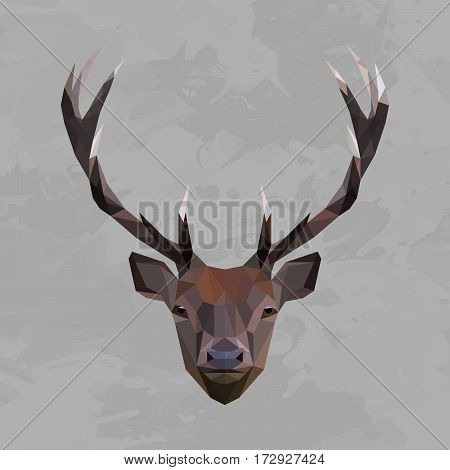 Deer colored head geometric lines isolated on grey background vintage design element