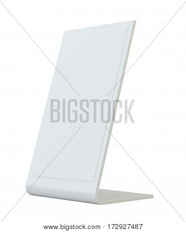 Blank flyer mockup plastic holder Clear brochure holding. Empty paper template. 3d rendering isolated on white background