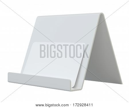 Mock up of business card with holder. 3d rendering isolated on white background
