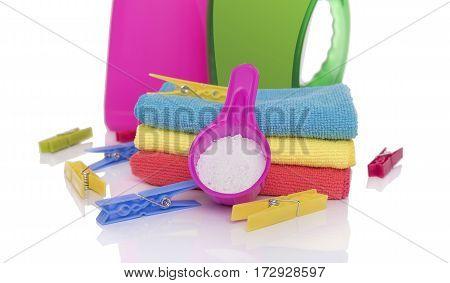 Washing powder and gel for washing. Preparing the wash cycle.
